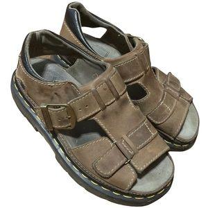 Vintage 90s Dr. Martens Chunky Platform Sandals | 1990s Brown Leather Size 7